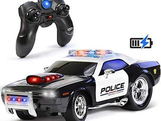 KidiRace Remote Control Police Car Toy with lights and Sirens for Boys   Rechargeable Cop Car   Durable RC Police Car Toy for Kids 3 Years and Up