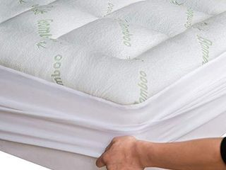 Niagara Sleep Solution Bamboo Mattress Topper Twin Cooling Breathable Extra Plush Thick Fitted 8 20 Inches Pillow Top Mattress Pad Rayon Cooling Ultra Soft  Bamboo  Twin 39x75 Inches