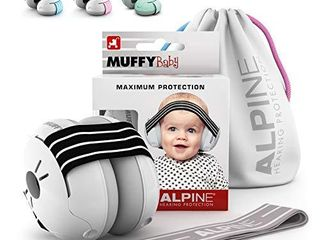 Alpine Muffy Baby Ear Protection for Newborn and Babies up to 36 Months a Noise Reduction Earmuffs for Toddlers   Children a Comfortable Infant Ear Muffs Prevent Hearing Damage   Improve Sleep  Black