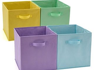 EZOWare Set of 4 Foldable Fabric Basket Bin  Collapsible Storage Cube Boxes for Nursery Toys  13 x 15 x 13 inches  Assorted Color