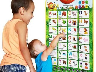 Just Smarty Alphabet learning Toy for Boys and Girls 3 Years Old   Up  Educational Interactive Poster for Kids to learn letters  Numbers  Shapes  Colors  Spelling  with Games  Quizzes and Music