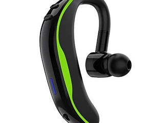 Bluetooth Headset V5 0 Wireless Bluetooth Earpiece 18 Hrs Talktime 200 Hours Standby Time  Fit Your Both Ear  Handsfree Headset with Noise Cancelling Mic  Compatible with iPhone and Android  Green