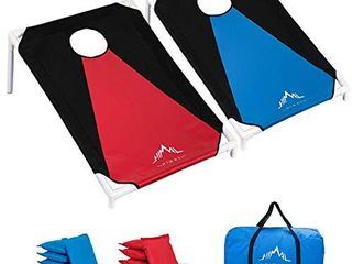 Himal Portable Assemble PVC Framed Corn Hole Outdoor Game Set with 8 Bean Bags and Carrying Case  3 x 2 feet