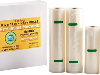 8    11  25ft Vacuum Sealer Rolls  Fit Inside  4 Rolls  2 of Each  100ft total  OutOfAir Vacuum Sealer Bags Works With FoodSaver   Other Machines   33  Thicker BPA Free  Commercial Grade