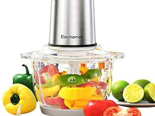 Electric Food Processor   Vegetable Chopper  Elechomes High Capacity 8 Cup Blender Grinder for Meat  Onion  Powerful 300W Motor   4 Detachable Dual layer Stainless Steel Blades  BPA Free Glass Bowl