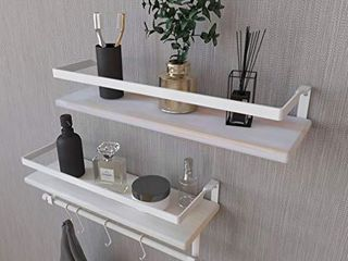 Kaliza Bathroom Shelves Wall Mounted   Rustic DAccor for Bathroom  Bedroom  Kitchen  living Room  Incredibly Easy to Install  2 Pack White