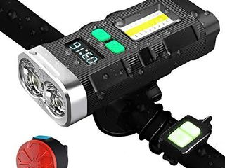 GOGOTIT Bike lights Front and Back Rechargeable lED  lCD Display light Bicycle Front Headlight and Back Rear lights Combo Set Fits All Bicycles  Road