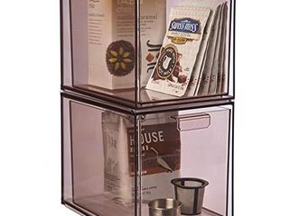 STORi Mod Stackable Pantry Storage Drawers 6 3 4  Tall   set of 2   Mocha Mist