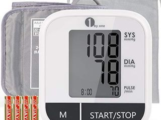 1byone Blood Pressure Monitor Upper Arm for Home use  Automatic BP Monitor with Digital lCD Display  8 6 16 5  large Cuff  Storage Bag  Auto Off  4 AAA Batteries Included  White