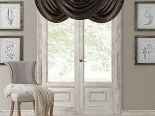 Elrene Home Fashions Versailles Faux Silk Room Darkening Rod Pocket Pleated Solid Window Waterfall Valance  52  x 36   1  Chocolate Brown