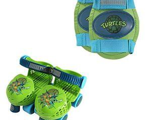 PlayWheels Teenage Mutant Ninja Turtles Roller Skates with Knee Pads  Green Blue  Junior Size 6 12