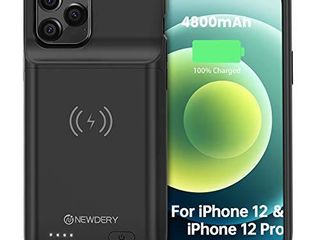 NEWDERY Battery Case for iPhone 12 12 Pro 6 1  4800mAh Portable Protective Backup Qi Wireless Charging Case for iPhone 12 12 Pro  Rechargeable Extended Battery Pack Charger Case