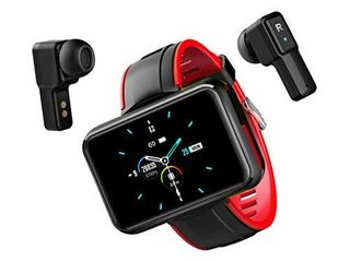 Smart Watch with Earbuds with Bluetooth Connectivity Smart Watches Touchscreen Fitness Activity Tracker with Camera Sleep Monitor Wireless Earbuds Inside Smart Watch for Voice and Music  Dynamic Red