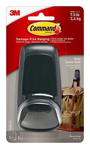 Command Jumbo Hook  Slate  1 Hook  2 Strips  7 5 lb  Capacity  Decorate Damage Free