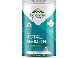 Total Health Organic Greens Powder Superfood by balanced greens  Boost Immunity  Digestion  Alkalize  Detox  Gluten Free Raw Vitamins   Minerals  Probiotics  Unflavored 60 Servings