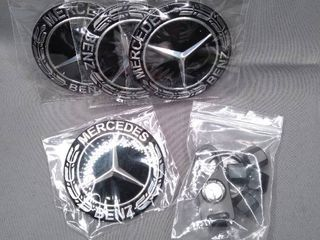 4 Pieces 75mm Black Center Wheel Hub Caps for Mercedes Benz Applicable to All Models