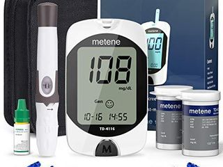 Diabetes Testing Kit  50 Glucometer Strips  50 lancets  1 Blood Glucose Monitor  metene TD 4116 Blood Sugar Test Kit with lancing Device and Control Solution  No Coding