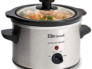 Elite Gourmet Glas Slow Cooker with Adjustable Temp  Entrees  Sauces  Stews   Dips  Dishwasher Safe Glass lid   Crock Pot  1 5 Quart  Stainless Steel