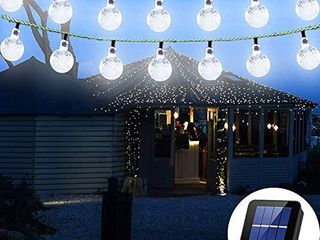 Solar String lights Globe 38 Feet 66 Crystal Balls Waterproof lED Fairy lights 8 Modes Outdoor Starry lights Solar Powered String light for Garden Yard Home Party Wedding Decoration  White 66lED