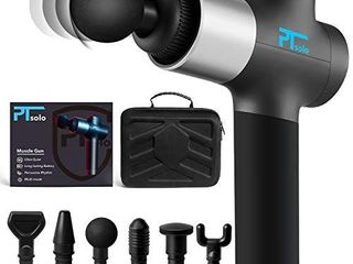 Massage Gun for Athletes  Deep Tissue Muscle Massage Gun Quiet for Pain Relief  Portable Body Massager with Comfort Grab Feel and Wear Resistant  20 Speed Adjustable and 6 Different Heads  by PTsolo