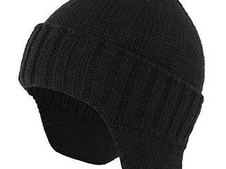 Home Prefer Mens Winter Knit Earflap Hat Velvet lining Cuffed Beanie Cap with Ear Flaps Black