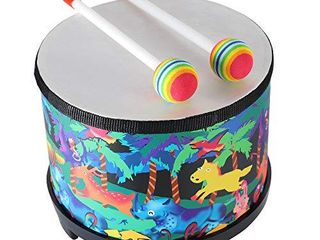 Floor Tom Drum for Kids 8 inch Montessori Percussion Instrument Music Drum with 2 Mallets for Baby Children Special Christmas Birthday Gift