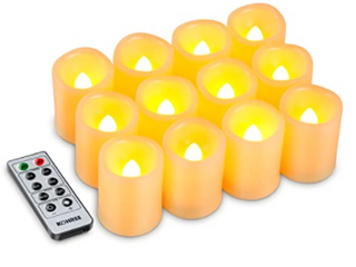 Kohree Flameless Candles lED Battery Candles with Timer Remote Control Easter lED Pillar Votive Unscented Ivory Remote Candles Amber Yellow Flame Pack of 24