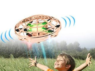 Hand Drones  Hand Controlled Drones  Boy Toys Kids Hand Operated Flying Ball Drone   Hands Free Mini Flying Ball Helicopter with 2 Speeds   5 Sensors   4 Infrared lights for Boys  Girls  Kids Gold
