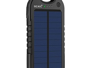 Dizaul Solar Charger  5000mAh Portable Solar Power Bank Waterproof Shockproof Dustproof Dual USB Battery Bank Compatible with Smartphones iPhone Samsung Android Phones Windows Phones GoPro GPS