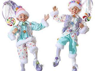 Set of 2 Raz 16  Pastel Candy Posable Elf Christmas Figure 3902252
