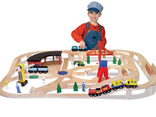 Melissa   Doug Wooden Railway Set  130 Pieces For Girls And Boys