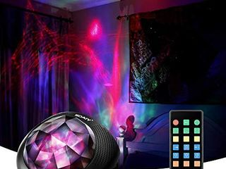 SOAIY Aurora Night light Projector and Sleeping Soothing White Noise Sound Machine for Baby  Kids  Adults with Bluetooth 4 1  Timer  Remote  6 Soother Sounds  7 lighting Modes for Kids Room