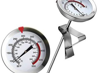 12  Mechanical Meat Thermometer Instant Read  long Stem  Waterproof  No Battery Required  Stainless Steel Deep Fry Thermometer for Turkey  BBQ  Grill
