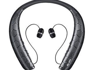 Bluetooth Headphones Speaker 2 in 1 Bluenin Neckband Wireless Headset with Mic Sweatproof Wearable Speaker Bluetooth 5 0 Headphones Retractable Earbuds with Carrying Case Black