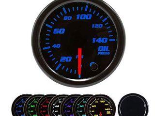 Oil Pressure Gauge Kit 7 Color 140PSI with Mechanical Oil Pressure Sensor   2 1 16  52mm