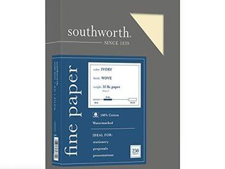 Southworth 100  Cotton Business Paper  8 5 x 11  32 lb 120gsm  Wove Finish  Ivory  250 Sheets    JD18IC