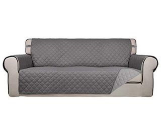 PureFit Reversible Quilted Sofa Cover  Water Resistant Slipcover Furniture Protector  Washable Couch Cover with Non Slip Foam and Elastic Straps for Kids  Dogs  Pets  Sofa  Gray lightGray