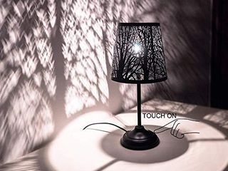 Touch Control Mini Table lamp  3 Way Dimmable Bedside lamp  Decorative Nightstand lamp for Bedroom  living Room  Black Metal Shade Forest lighting  Bulb Included