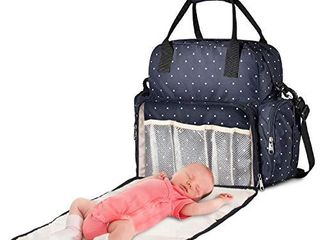 Diaper Bag Backpack  Baby Bag with Changing Pad  Waterproof Multifunction Nappy Bag Maternity Travel Back Pack for Mom Dad with Insulated Pockets Blue