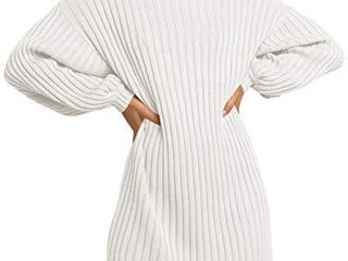 MIllCHIC Women s Oversized Turtleneck long Sleeve Knit Pullover Sweater Dresses JH82 24M0 baise S White