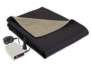 Eddie Bauer Portable Heated Electric Throw Blanket   Rechargeable lithium Battery with USB Port   Water Resistant Weather Smart Fleece for Travel  Camping  and Outdoor Use  light Khaki Black