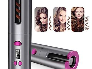 Cordless Auto Hair Curler Portable Hair Curling Wand Recharger Automatic Curling Iron with lCD Temperature Display and Timer