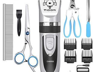 YIDON Dog Clippers Dog Grooming kit low Noise Cordless Rechargeable  Professional Pets Shaver Trimmers Shears with Comb Guides Scissors Nail Kits for Small large Dogs Cats
