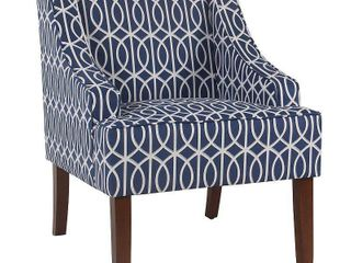 Classic Swoop Accent Armchair Blue Trellis   HomePop