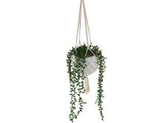 Flora Bunda 32 in  Artificial String of Pearls in Macrame Hanging Ceramic Planter