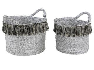 Studio 350 Round Metallic Silver Aluminum Foil Storage Baskets with Yarn Tassels  Set of 2