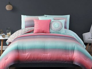 Queen 10pc Cypress Comforter Set Coral Blue   Geneva Home Fashion