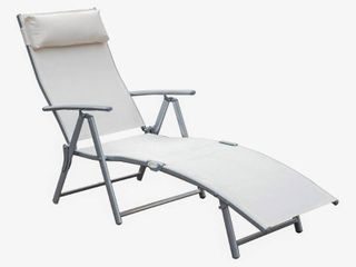 Outsunny Steel Fabric Outdoor Folding Chaise lounge Chair Recliner with Portable Design   Adjustable Backrest   White  Retail 91 99