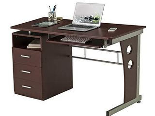 Techni Mobili Computer Desk with Ample Storage  Chocolate