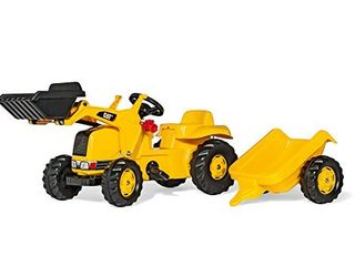 Rolly Toys CAT Construction Pedal Tractor  Front loader Tractor with Detachable Trailer  Youth Ages 2 5